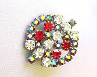 Vintage Czech Glass Rhinestone Button, Bijoux M.G Art Deco, Czech Republic, Craft, Supplies,Sewing,