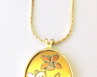 "Vintage Reed and Barton Damascene Pendant Necklace, February Birthday ""Violet"" Collectible"