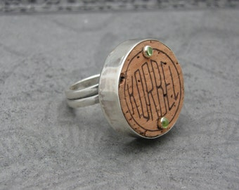 Champagne Cork and Sterling Silver Ring