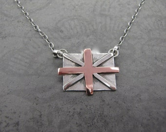 Sterling Silver and Copper Union Jack Necklace