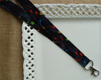 Fabric Lanyard Badge ID - Music Notes on Black