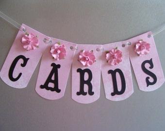 CARDS Banner - Wedding Decoration - Soft Pink Marbled