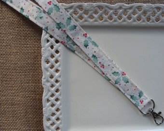 Fabric Lanyard  - Shimmering Holly Leaves & Berries on Ivory