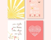 You Are My Sunshine girl nursery art in coral, peach, latte brown and yellow, sun rays, tulips, pink bird, heart/ Set of four 8x10 prints