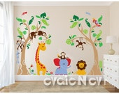 Nursery Safari Wall Sticker, Baby Safari Wall Sticker and Baby Nursery Stickers - PLJN040