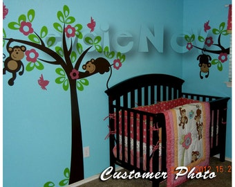 Jungle Safari Wall Decals - Monkeys on the Tree Nursery Theme - ON SALE - PLSF020L