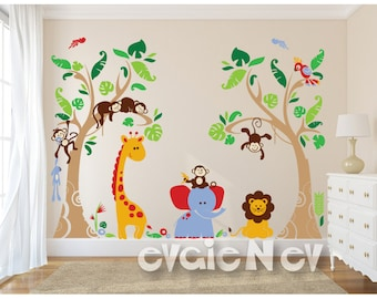 Tropical Nursery Wall Decals with Exotic Rain-forests and Animals Baby Nursery Stickers - PLJN040