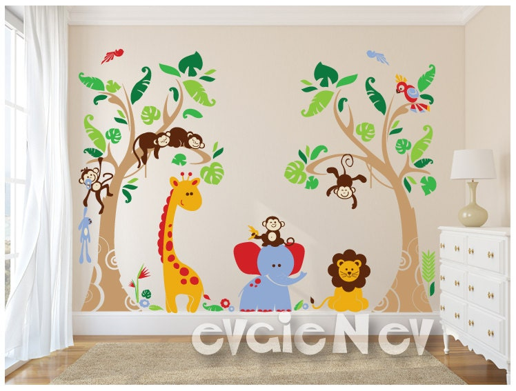 Jungle safari wall decals baby wall decals nursery wall for Baby jungle mural