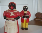On Sale Vintage Large Aunt Jemima and Mose Americana Figurines New Orleans Red Black Home Decor Kitchen