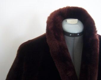 Vintage 40s-50s Mahogany Mouton Coat Short Pitsa Galanopoulos