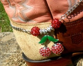 Boot Bling Boot Bracelet - Very Cherry - Red, Green, Silver, Chain, Cowgirl, Country