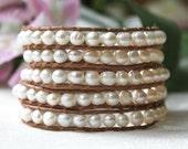 White Freshwater Pearl Wrap Bracelet