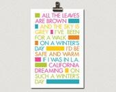 California Dreaming Song Lyrics Poster