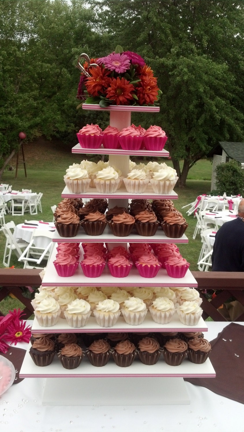 7 Tier Square Custom Made Cupcake Stand With By