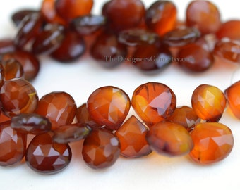 Large Brown Orange and Yellow Faceted Chalcedony Heart Briolettes 14 to 15mm- 1/2 STRAND