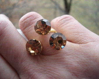 Vintage Light Topaz Crystal Faceted Glass Three Stone Gold Plated Adjustable Ring