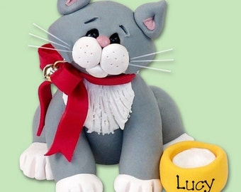 Gray & White  KITTY CAT HANDMADE Polymer Clay Personalized Christmas Ornament