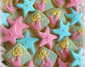 Mermaid and starfish cookies - 2 dozen SMALL cookies - decorated cookie favors