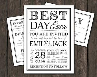 Moder Wedding Invitation Prints - Best Day Ever, Typography, black, white, casual, set (1065)