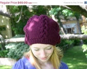 Cable Knit Wool Hat, Purple Beanie Hat for Women, Winter Hats - Christmas in July - GingerKnitz