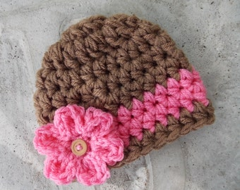 Chunky baby hat for girls - photo prop - baby girl gift - baby shower gift - bringing baby home -  made to order