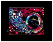 Her Sax print- closeup of sax in bold pink black teal and blues 8x10 print in mat