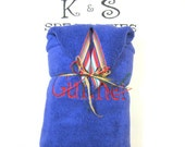 Bright Blue Personalized Monogrammed Hooded Towel Accented With A Red Roman Stripe Ribbon/Century Font/Gift:Birthday, Shower.Wedding Party