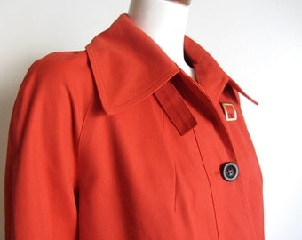 Vintage 1960s mod topcoat coat raincoat tomato red button front slight trapeze lined size M