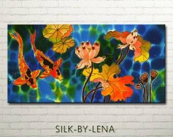 Painting  ORIGINAL  Silk Painting  Acrylic Painting  Wedding Gift  Fish Painting  Lotus Painting 12inX24in Free Shipping
