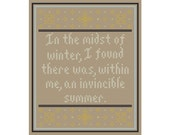 Camus Inspired INVINCIBLE SUMMER Cross Stitch Chart