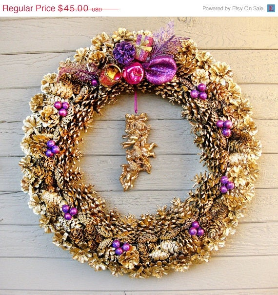 50% OFF CIJ SALE Gold Pinecone Wreath with Purple and Magenta Trim