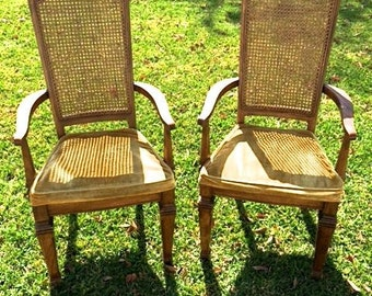 Set Of 2 Mid Century Modern Cane Back Dining Room Chairs