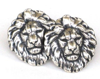 Steampunk - LION HEAD - Men's Cufflinks Cuff Links - Antique Silver - By GlazedBlackCherry
