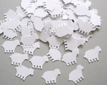 100 White Sheep punch die cut confetti embellishments,  Mary had a little lamb party decorations - No326