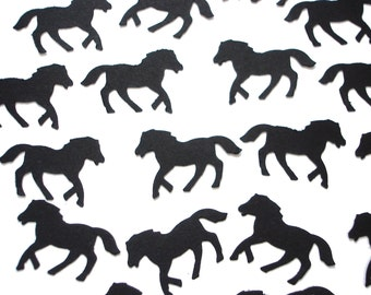 50 Black or White Horse Confetti, Birthday Party Decorations - No875