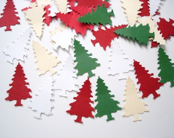100 White Red Green Ivory Evergreen Tree Confetti, Christmas Party Decorations - No441