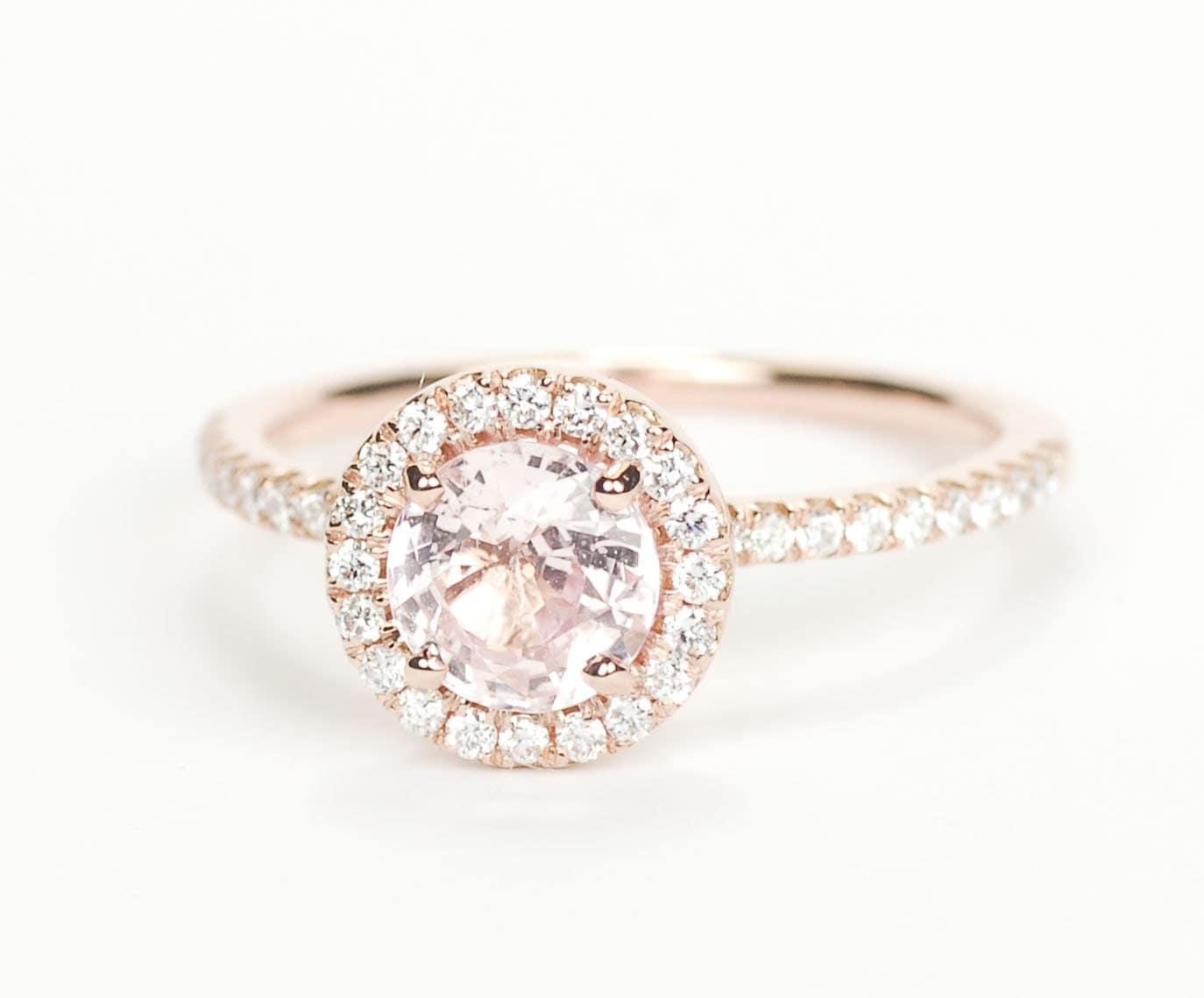 Sale Certified Peach Pink Round Sapphire Diamond Halo