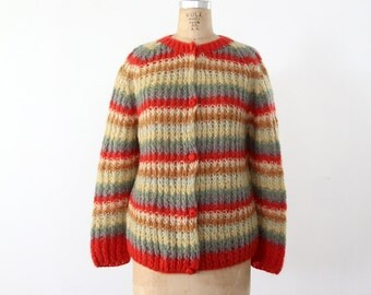 1960s mohair cardigan sweater, chunky knit cardi