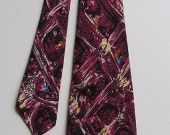 1940's - 50's Impressionist wide tie with Theatre Box Seats by Emogene of San Francisco - signed - designer