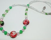 Pink Floral Lampwork Beaded Necklace