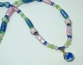 Pink and Blue Lampwork Beaded Necklace