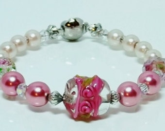 Pink and Burgundy Pearl Bracelet