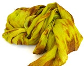 SALE   ...   large hand dyed silk scarf  ... shades of copper bronze and golden  yellow