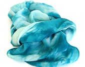 teal and turquoise ... large hand dyed silk crepe de chine scarf