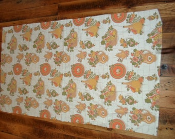 Vintage Retro  Printed Tablecloth with avocado gold and orange flowers wine bottle pitchers baskets grapes