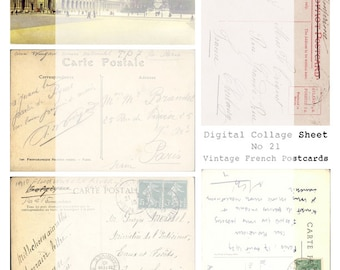 Digital Collage sheet No 21 Vintage French Postcards Paris Tags Cards Journaling Scrapbooking