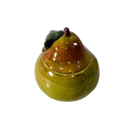 Vintage Pear Cookie Jar Ceramic Green Brown Fruit Cookie Jar