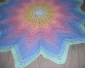 Reseved for hammelrd Gorgeous Handmade Crochet Rainbow Star Baby Blanket Afghan