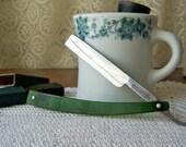 Vintage Straight Edge Razor Mug and Brush Set Green Celluloid Straight Edge Union Cutlery Straight Edge Razor Vintage 1930s-40s