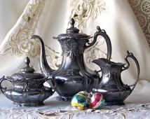 Antique Tea Set Silver Plate Teapot Creamer Sugar Pairpoint 1904 Quadruple Plate Tea Set Shabby Cottage Decor